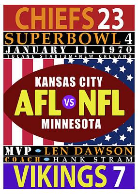 Chiefs 23 Vikings 7 Super Bowl 4 Poster