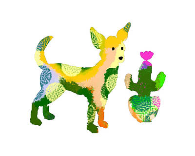 Chihuahua And Cactus Poster by Holly McGee