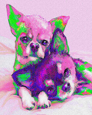 Poster featuring the digital art Chihuahua Love by Jane Schnetlage