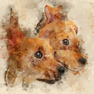 Chihuahua Twins - Digital Watercolor Dog Portrait Poster