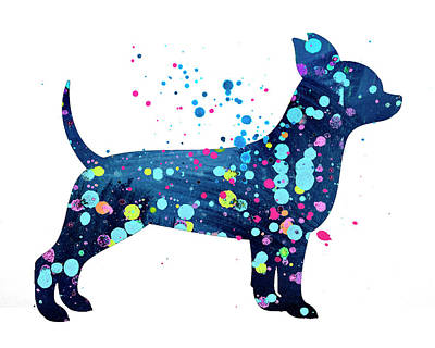 Chihuauua Watercolor Silhouette Painting Poster by Donald Erickson