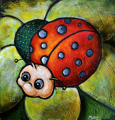 Child Art Lady Bug Poster by Victoria Miller