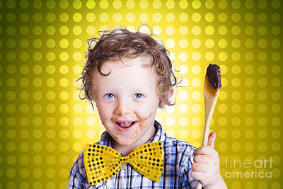 Child Holding Chocolate Covered Cooking Spoon Poster by Jorgo Photography - Wall Art Gallery