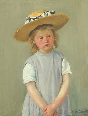 Poster featuring the painting Child In A Straw Hat By Mary Cassatt 1886 by Movie Poster Prints