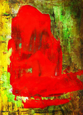 Colorful Red Abstract Painting - Child In Time Poster by Modern Art Prints