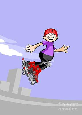 Child Jumping High With His Roller Skates Online Poster