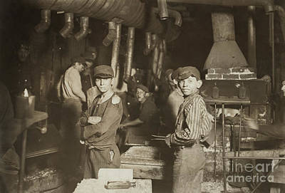 Child Laborers In Glassworks Poster