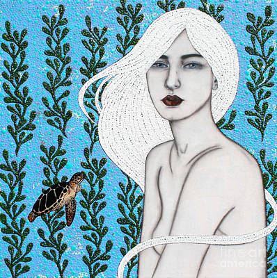 Poster featuring the mixed media Child Of The Ocean by Natalie Briney