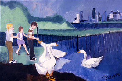Children And Geese In Central Park 1971 Poster by Betty Pieper