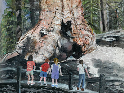 Poster featuring the painting Children At Sequoia National Park by Quwatha Valentine