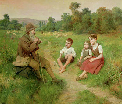 Children Listen To A Shepherd Playing A Flute Poster by J Alsina