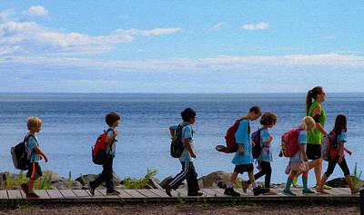 Children On Lake Walk Poster