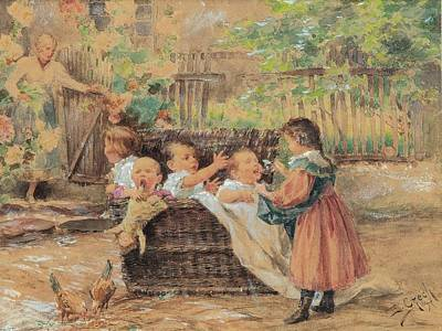 Children Playing In The Garden Poster by MotionAge Designs
