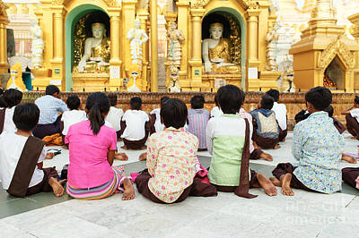 Children Pray At Shwedagon Pagoda Poster by Dean Harte
