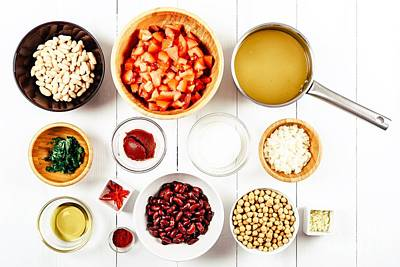 Chili Bean Stew Food Ingredients Top View On White Wood Table Poster by Radu Bercan