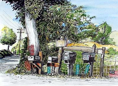 Poster featuring the painting Chili Hills Mail Boxes by Terry Banderas