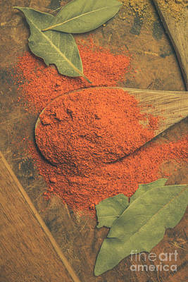 Chilli Powder And Bay Leaves Poster by Jorgo Photography - Wall Art Gallery