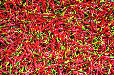 Poster featuring the photograph Chillies by Charuhas Images