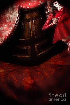 Chilling Female Killer Inside Spooky Horror House Poster