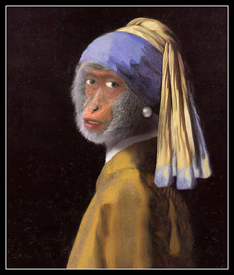 Chimp With A Pearl Earring Poster by Gravityx9  Designs