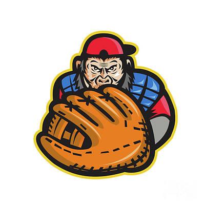Chimpanzee Baseball Catcher Glove Retro Poster