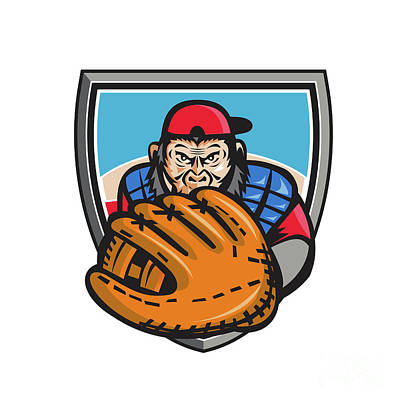 Chimpanzee Baseball Catcher Glove Shield Retro Poster