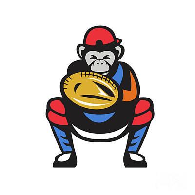 Chimpanzee Baseball Catcher Retro Poster