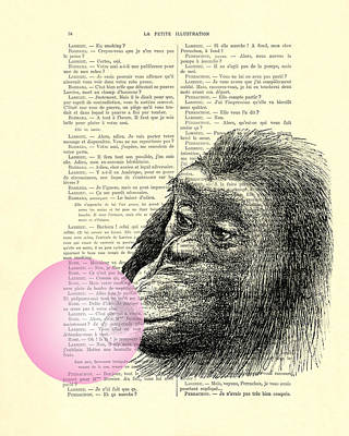 Chimpanzee Pink Bubblegum Nursery Girl's Bedroom Poster by Madame Memento
