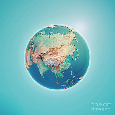 China 3d Render Planet Earth Poster by Frank Ramspott