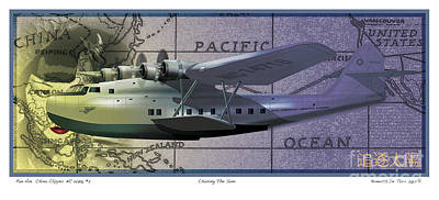 China Clipper Chasing The Sun Poster by Kenneth De Tore