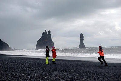 Poster featuring the photograph China's Tourists In Reynisfjara Black Sand Beach, Iceland by Dubi Roman