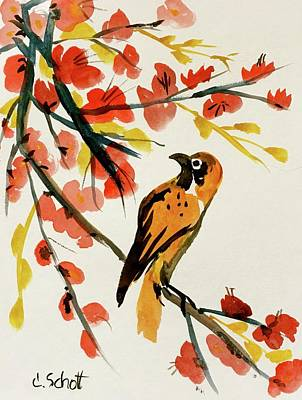 Chinese Bird With Blossoms Poster