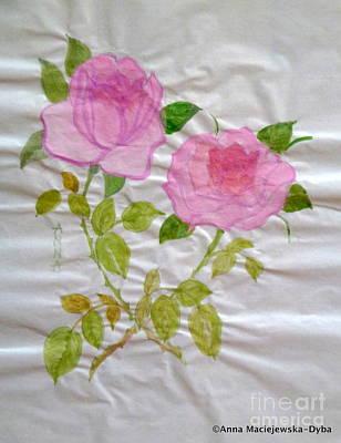 Chinese Brush Painting  Pink Rose Poster