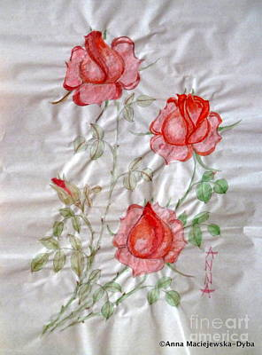 Chinese Brush Painting  Red Rose Poster