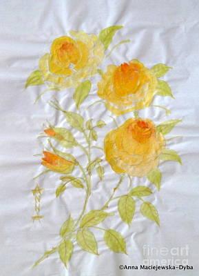 Chinese Brush Painting Yellow Rose Poster
