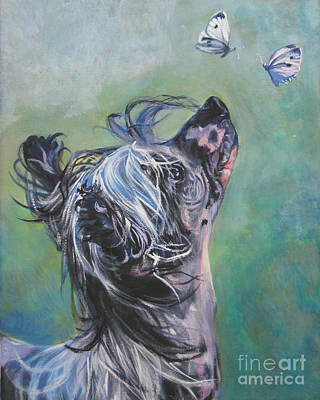 Chinese Crested With Butterflies Poster by Lee Ann Shepard