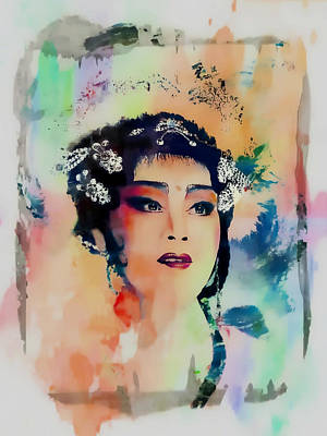 Chinese Cultural Girl - Digital Watercolor  Poster by Ian Gledhill