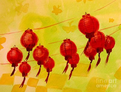 Poster featuring the painting Chinese Lanterns by Maria Langgle