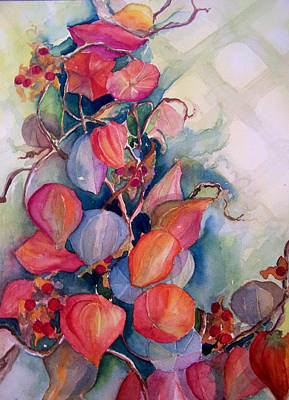 Poster featuring the painting Chinese Lanterns by Sandy Collier