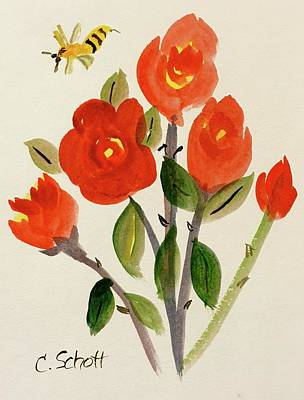 Chinese Red Rose With Bee Poster