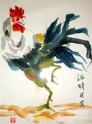 Poster featuring the pastel Chinese Rooster by Pat Crowther