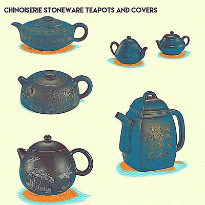 Chinoiserie Stoneware Teapots And Covers 2 Poster