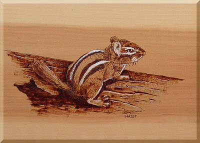 Poster featuring the pyrography Chipmunk by Ron Haist