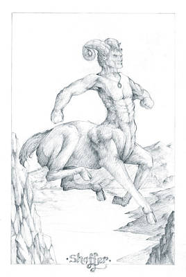 Poster featuring the drawing Chiron The Centaur by Curtiss Shaffer