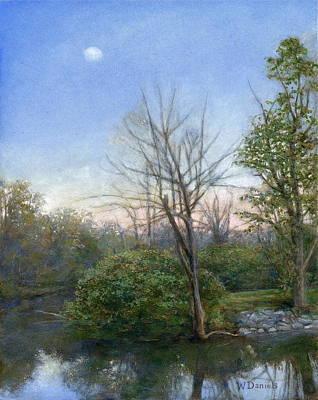 Poster featuring the painting Chittenango Creek- Dusk by Wayne Daniels
