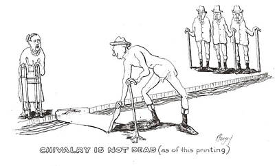 Poster featuring the drawing Chivalry by R  Allen Swezey