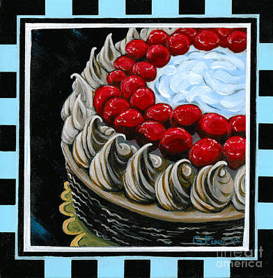 Chocolate Cake With A Cherry On Top Poster