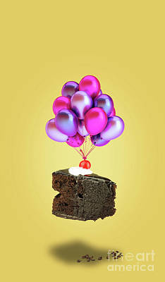Chocolate Cherry Cake With Balloons Poster by Kira Yan