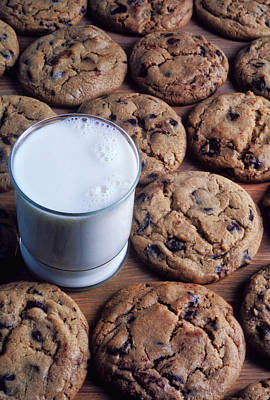Chocolate Chip Cookies And Glass Of Milk Poster by Garry Gay