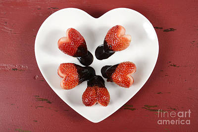Chocolate Dipped Heart Shaped Strawberries On Heart Shape White Plate Poster by Milleflore Images